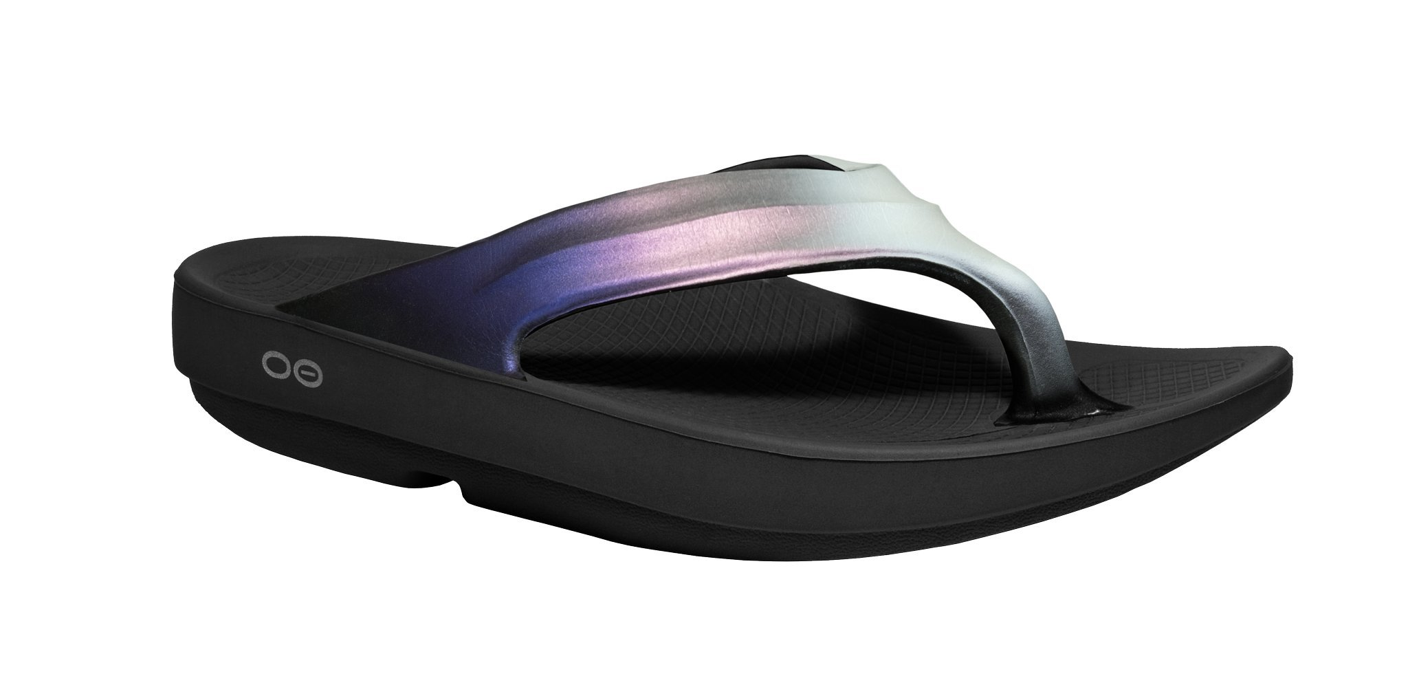 OOFOS - Women's OOlala Satin - Post Run Sports Recovery Thong Sandal - Black/Calypso - W10