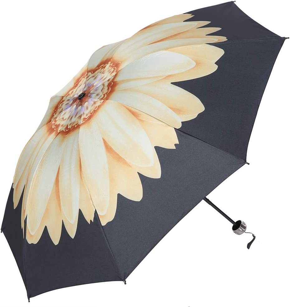 Yellow Fashionable UV Protect Umbrella UPF50 Portable Outdoor Travel Folding Sun Protective Umbrella
