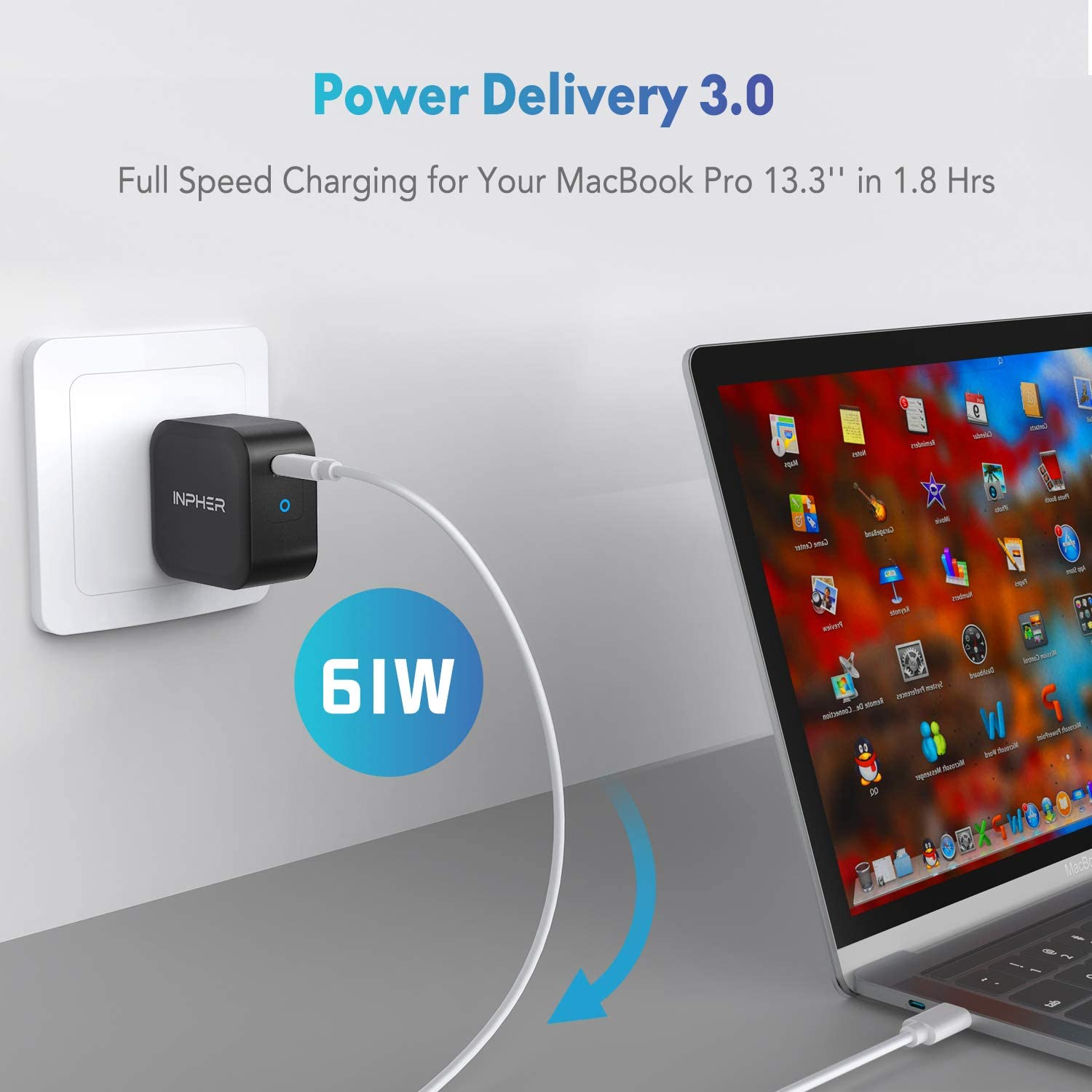 Black 61W USB C Wall Charger iPad Pro 2018 iPhone Xs Max//XR//X and More GaN Tech Inpher PD 3.0 Ultra Compact Type C Fast Charging Power Delivery Foldable Adapter Compatible with MacBook Pro//Air