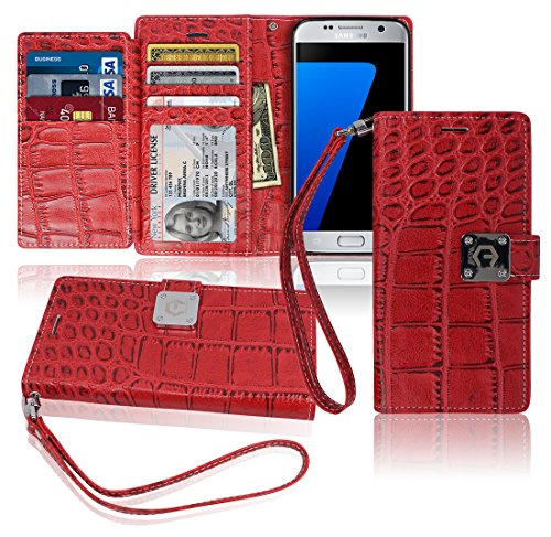 S7 Wallet Case, Matt [ 8 Pockets ] 7 ID / Credit Card 1 Cash Slot, Power Magnetic Clip With Wrist Strap For Samsung Galaxy S 7 Leather Cover Flip (Sauvignon Blanc Viognier Wine)