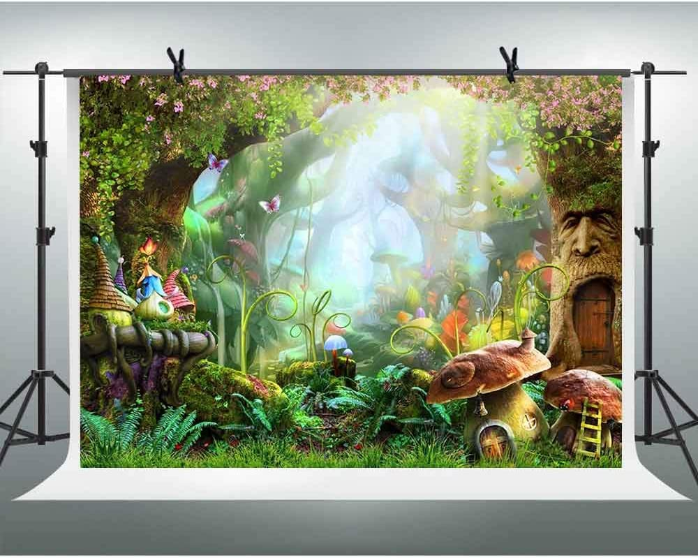 FHZON 10x7ft Fairy Forest Backdrops for Photography Mushroom House Background Baby Shower Wallpaper Theme Party Photo Booth Props LSFH887