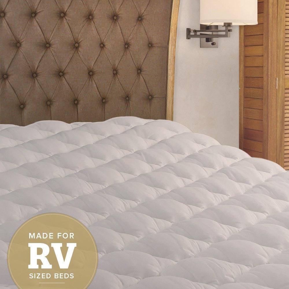 RV Mattress Pad - Extra Plush Topper with Fitted Skirt - Found in Marriott Hotels - Made in the USA - Hypoallergenic - Mattress Cover for RV, Camper - Queen