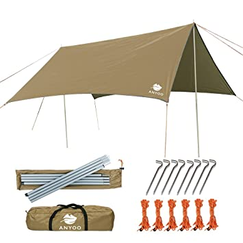 Anyoo Ripstop Rain Tarp Beach Tent Hamaca Fly Sunshade 3 X 3 m Ligero Impermeable Shelter para Acampar Senderismo Backpacking Poles Stakes Incluido