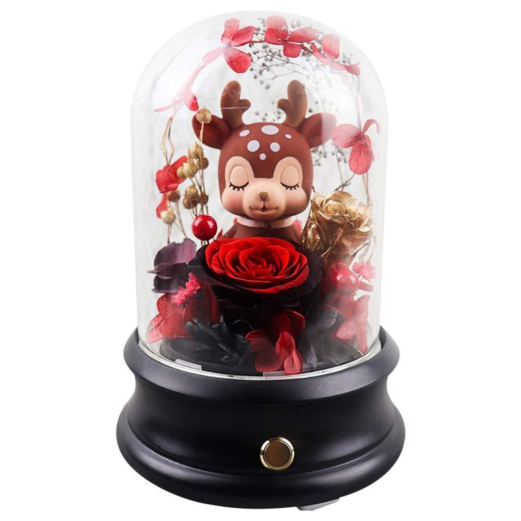 ガラスカバー、永遠の花、保存された生花、バラの花、ロマンチックなバレンタインデーのギフト (色 : ブラック) B07QKCG5M2 ブラック