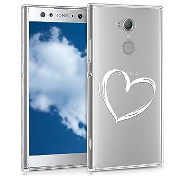 kwmobile Funda para Sony Xperia XA2 Ultra - Carcasa de [TPU] para móvil y diseño Dibujo de corazón en [Blanco/Transparente]