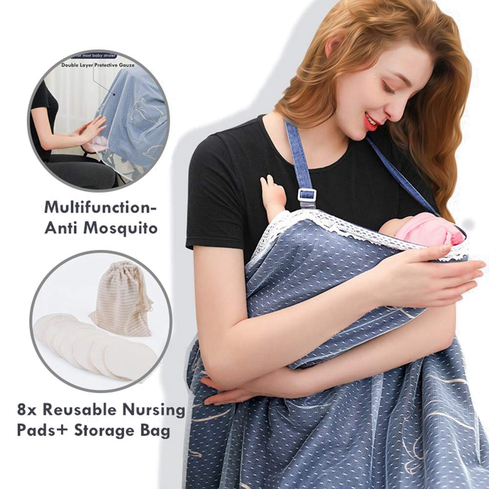 Lehoo Castle for Nursing Cover for Breastfeeding, Baby Breastfeeding Cover with 8 Packs Reusable Nursing Pads and Storage Bag, Car Seat Covers for Babies, Multi Use Infant Stroller Cover by Lehoo Castle