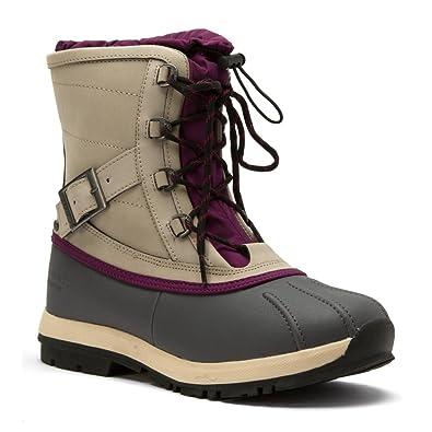 BEARPAW Women's Nelly Snow Boot, Grey Nylon, Polyurethane, ...