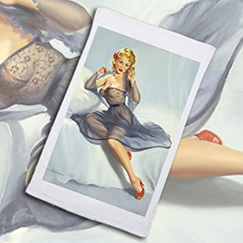 454c2faa4 Amazon.com  Vintage Pin-Up Metal Plaque Blonde With Purple Negligee And Red  Shoes 1950S - By Harry Ekman