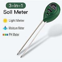 Soil pH Meter, 3 in 1 Soil Test Kit for Moisture, Light & pH for Garden, Farm, Lawn , Plants, Herbs and Indoor & Outdoor Plants