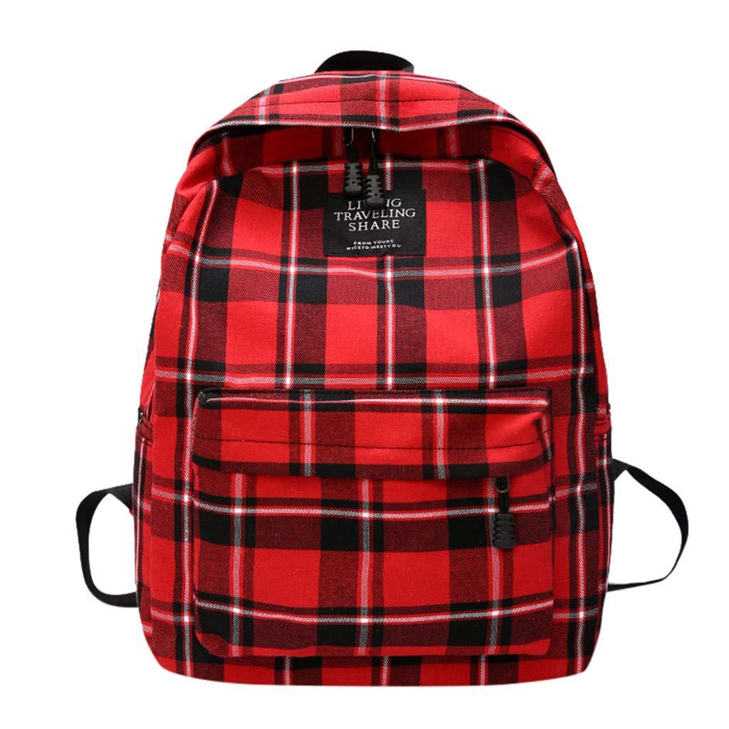 YEZIJIN Women New Bag Female Student College Wind Bag Plaid Canvas Backpack Travel Bag Kids School Backpack