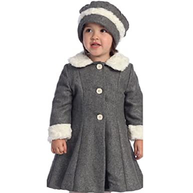 Amazon.com: Angels Garment Toddler Little Girls Grey Fur Trim Coat