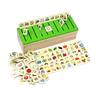 80 Piezas (8 Categoría) Juguetes Juegos Educativos Apredizajes Cuadro Caja Clasificación de Forma Figura Madera: Juguetes y juegos