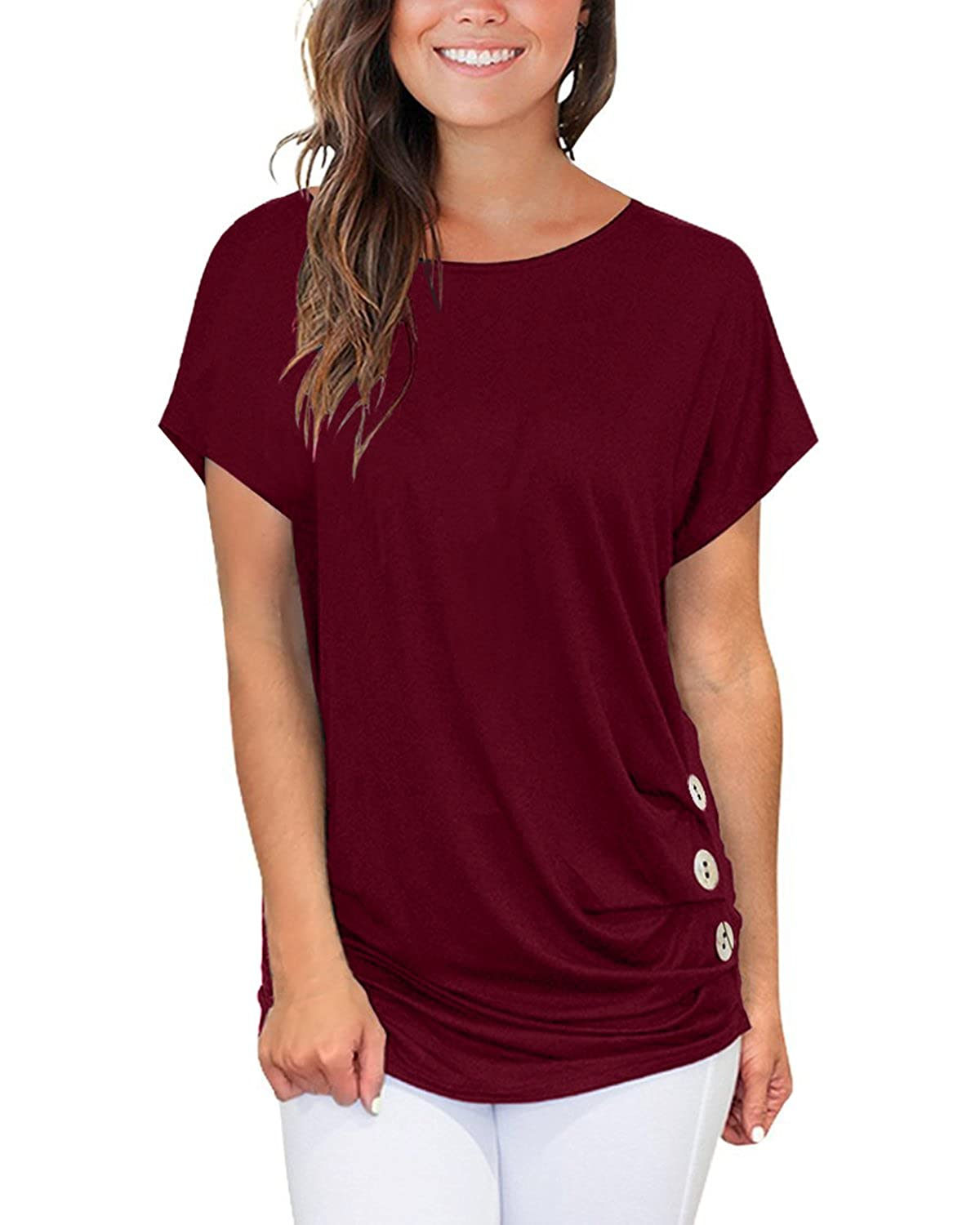 SUNNYME Summer Tops for Women Shirts Plus Size Cute Tunics Tops Casual Short Sleeve T Shirts