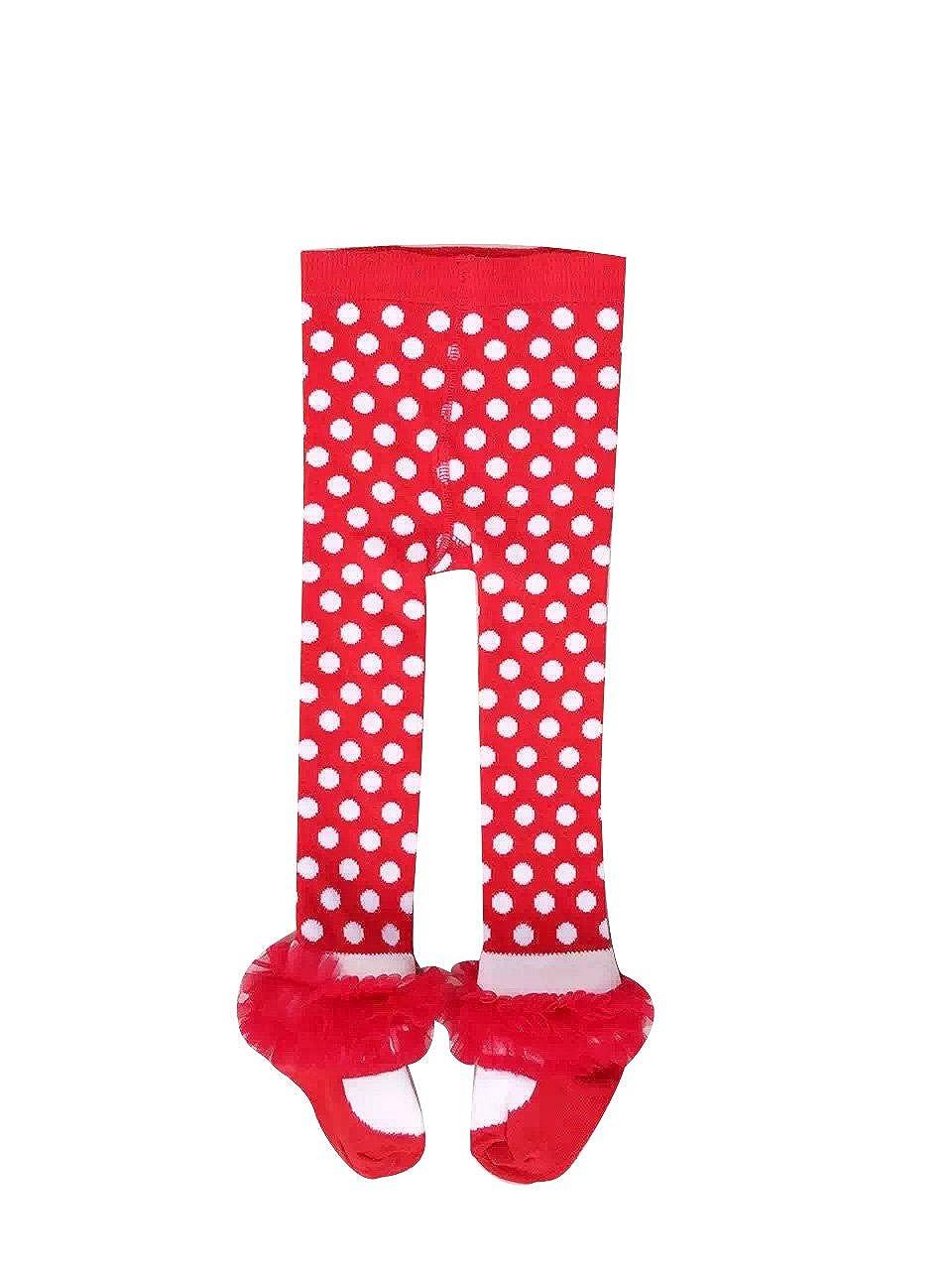 ACVIP Chaussettes Rouges à Pois Pantalons Leggings en Coton Pour Bébé Enfant Fille 1-7 Ans