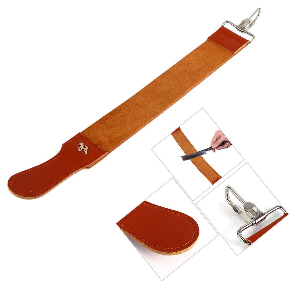 Razor Strops,Genuine Leather Strop Strap Straight Razor Folding Barber's Leather Sharpener Sharpening Belt