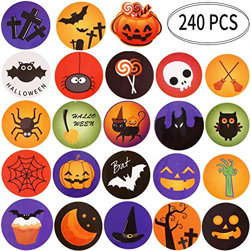 Outus Halloween Stickers Assorted Favors Labels Round Stickers Treat or Trick Party Decorations with Pumpkin Ghost Black Cat Bat Design