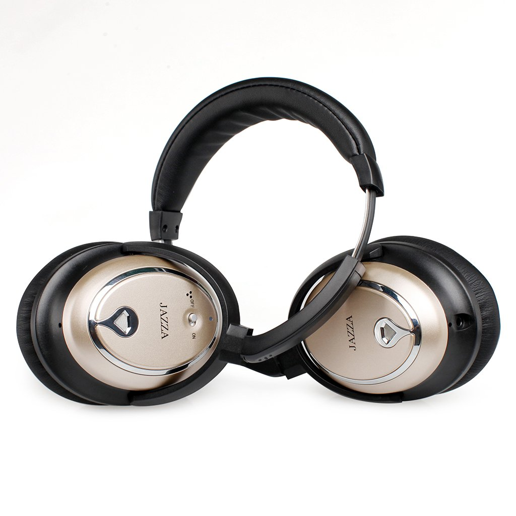 JAZZA ANC-J2 Foldable Stereo Active Noise Cancelling Headphones for Cellphone Smartphone Iphone/ipad/laptop/tablet/computer/MP3/MP4/etc, Strong Bass, Folding and Lightweight Travel Headset (Gold) by JAZZA (Image #4)