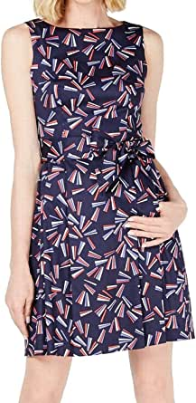 ANNE KLEIN Womens 10722048-0LL Cotton Fit & FlareDress Sleeveless Dress - Blue