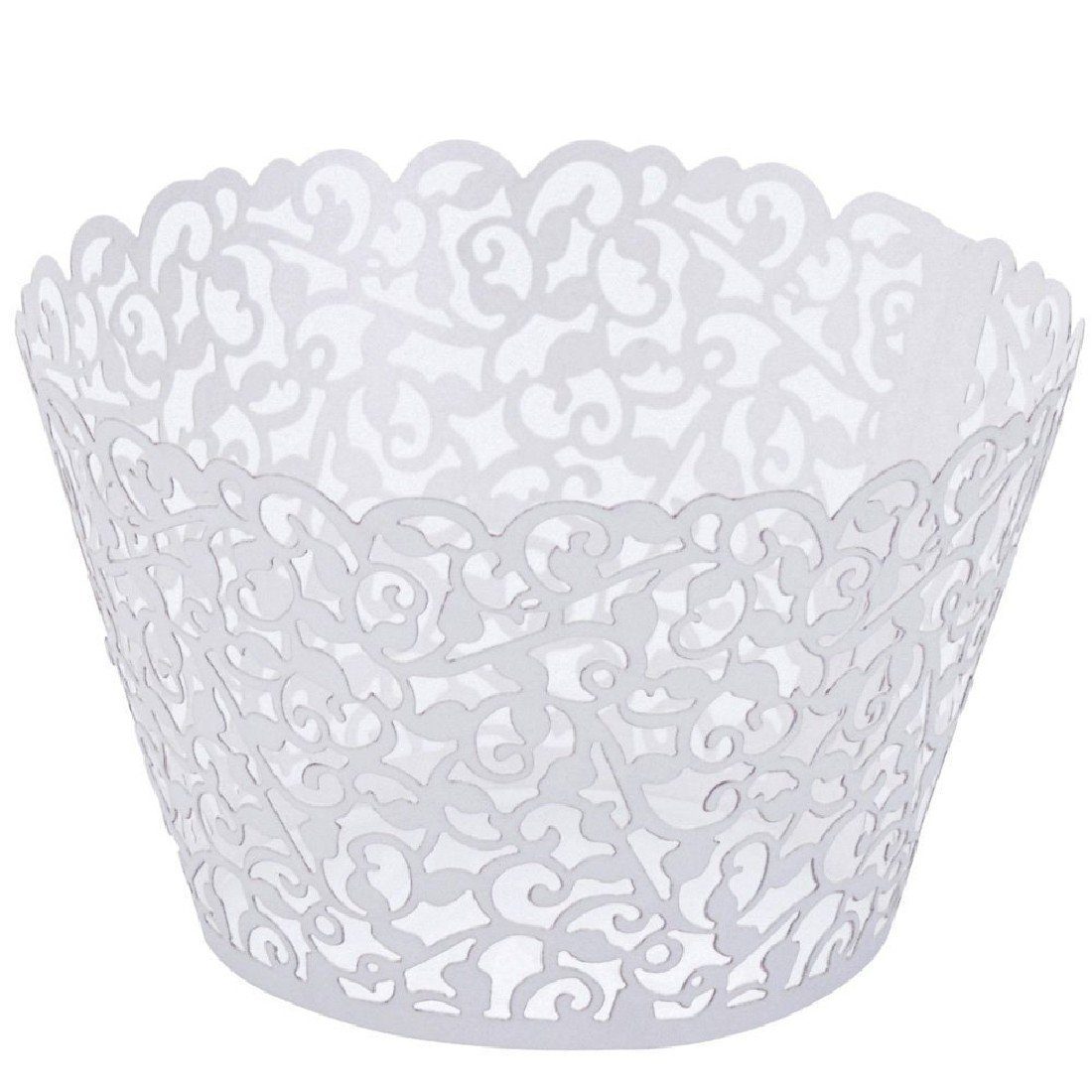 50pcs Pearly Paper Vine Lace Cup Cake Wrappers Cupcake Tower Cake Decoration Supplies White [Energy Class A] OKSTORE NWIDEKKFNK995