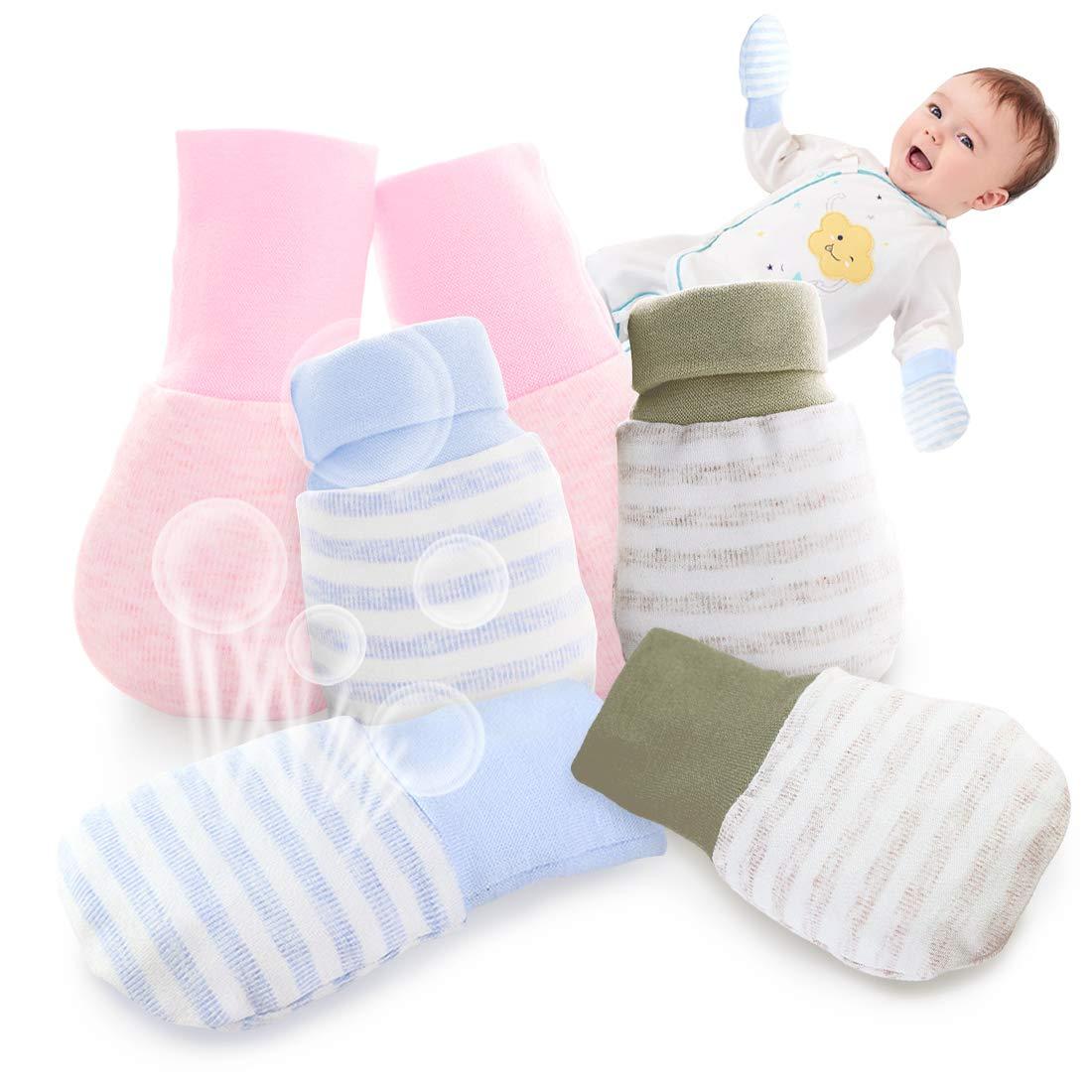 17 Pairs Newborn Baby Cotton Gloves No Scratch Baby Mittens Unisex Baby Gloves for 0-6 Months Baby Boys Girls