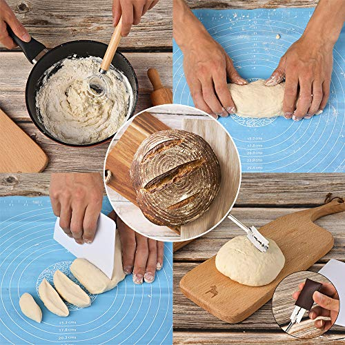 Bread Making Kit – Dough Scraper, Danish Dough Whisk, Oven Thermometer, Bread Lame, Pastry Mat, Finger Sleeves, Necessary Kitchen Utensils
