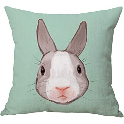 YJBear Cotton Linen Lovely Gray White Rabbit Print Square Pillow with Invisible Zipper Cotton Linen Decorative Cushion Throw with Insert Home Decor for Bench/Couch/Sofa Green 18 X 18'': Home & Kitchen