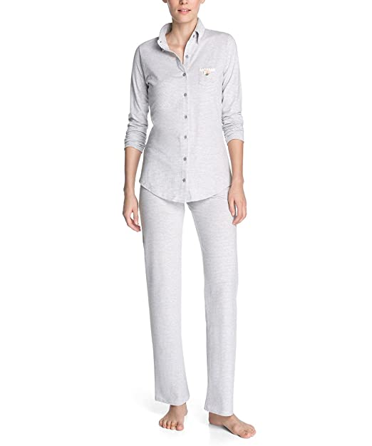 Esprit Pijama mini a rayas de manga larga para mujer, talla 40, color gris