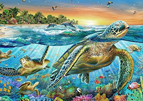 YEESAM Art New Diamond Painting Full Drill 5D Kits - Sea Turtle 4030 - DIY Crystals Diamond Rhinestone Painting Pasted Paint by Number Kits Cross Stitch Embroidery ()