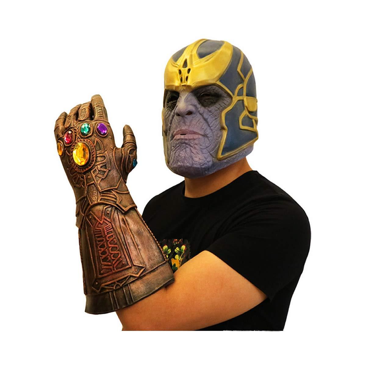 Hcoser Avengers Infinity War Cosplay Thanos Maske Halloween Kostüm Party Requisiten Latexmaske Handschuh mit Licht