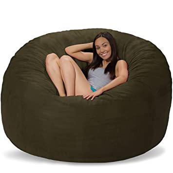 Comfy Sacks 6 Ft Memory Foam Bean Bag Chair, Olive Micro Suede