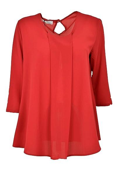 Calata Calabritto Amplia Blusa de Las Mujeres Rojas de Crepé - Elegante - Rojo, L