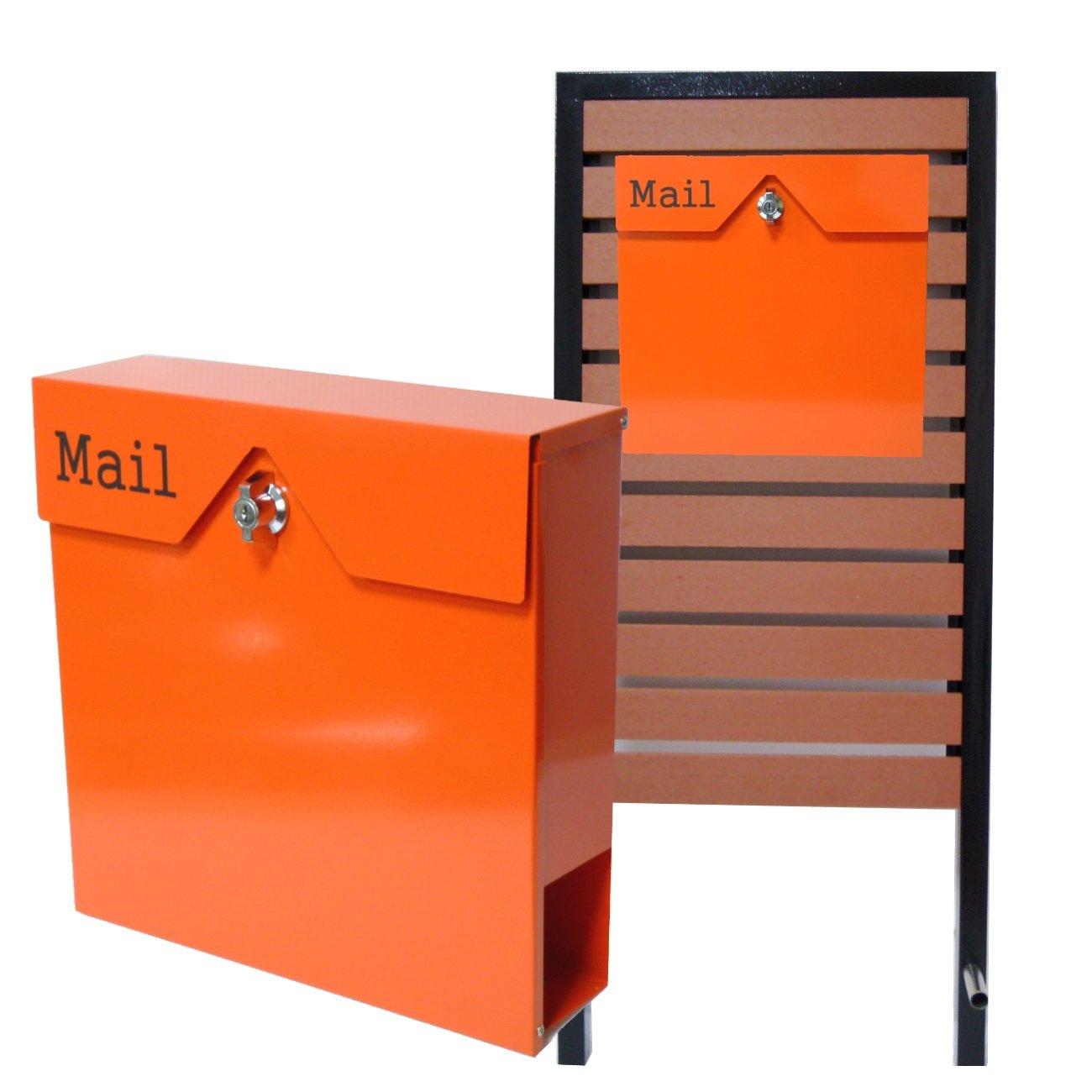 郵便ポスト スタンド付 壁掛けステンレスオレンジ色ポスト pm18s-pm152 B076HHXMNV 25880