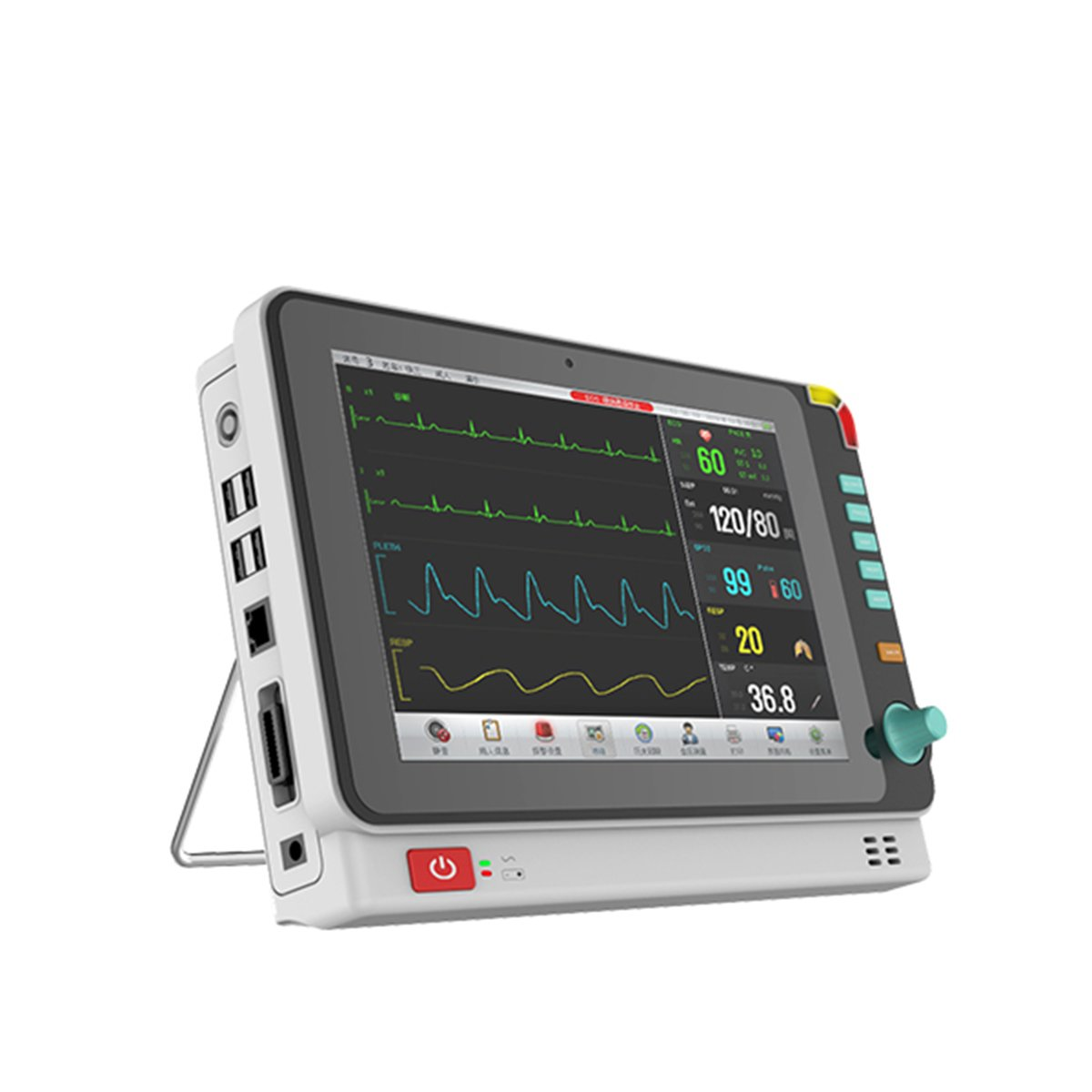 10.1 Inch Color Portable Patient Monitor with 6 parameter to monitor Vital Sign ECG NIBP RESP TEMP SPO2 PR