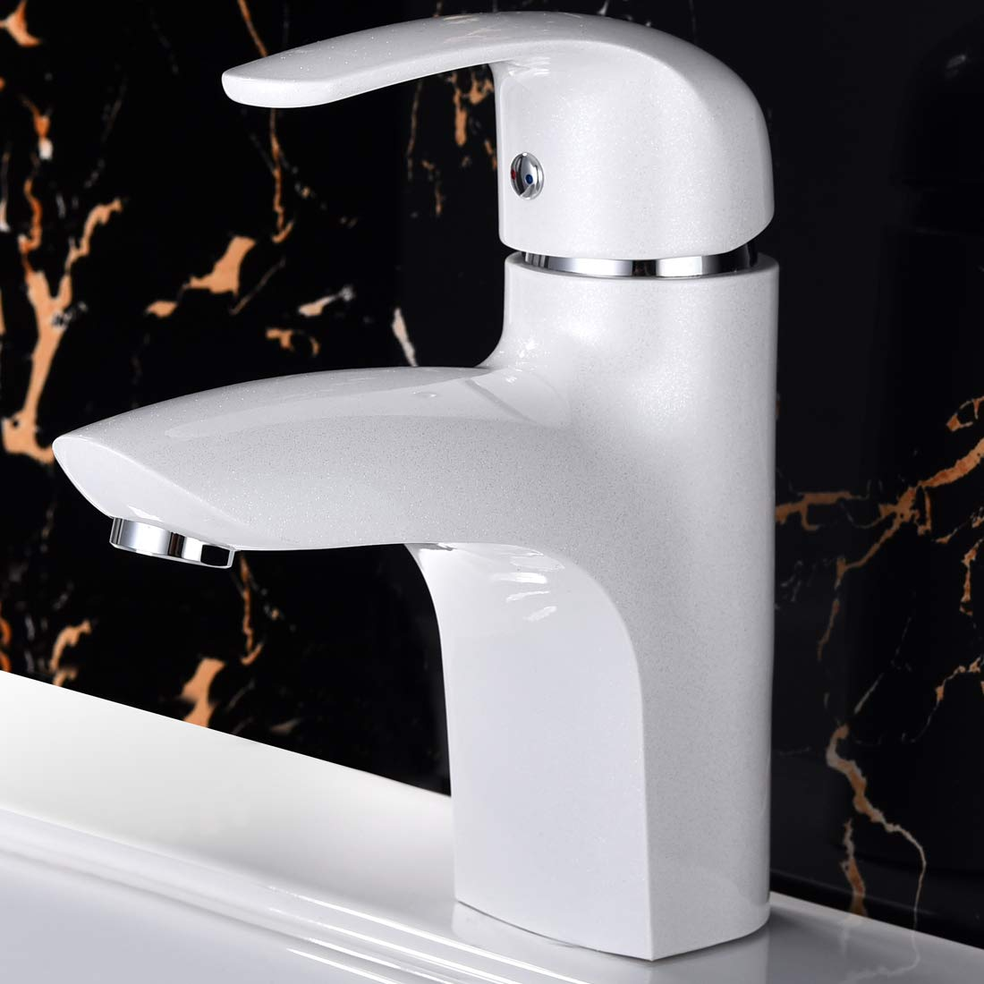 Bathroom Faucet Bar Sink Faucets Mixer Tap with Hot and Cold Water Supply Hose, Single Handle Single Hole (Elegant white) (Standard)