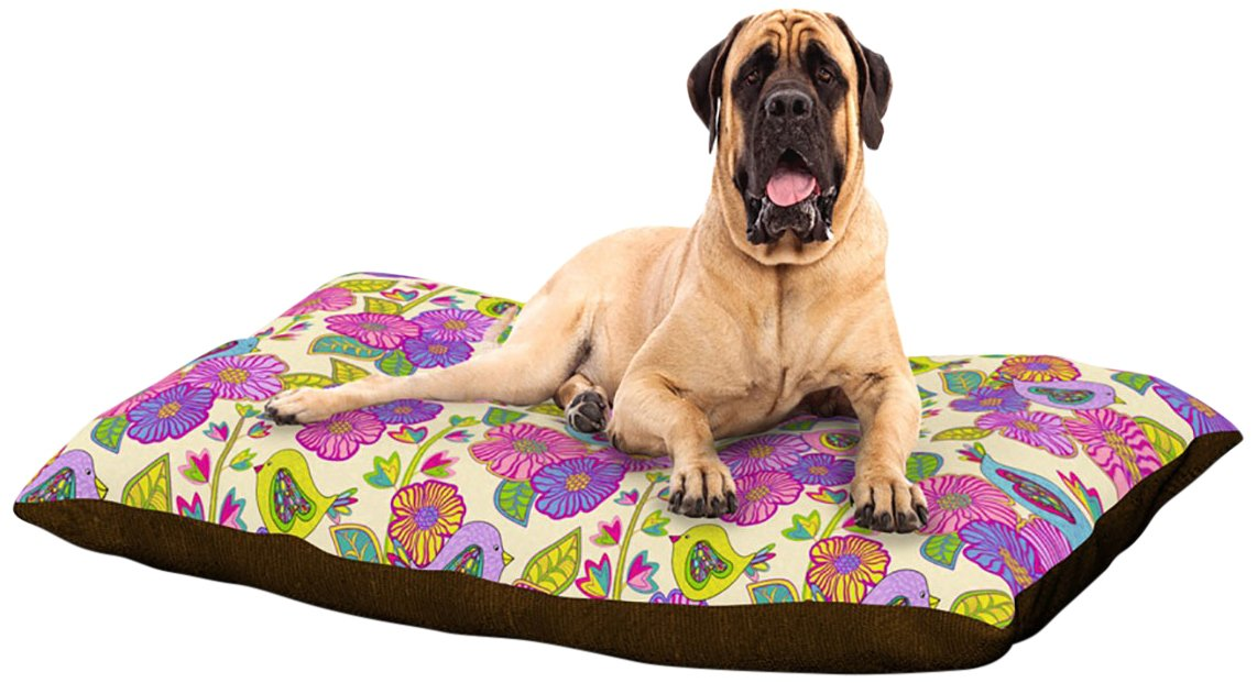 X-Large 40\ Kess InHouse Julia Grifol My Birds and My Flowers  Dog Bed, 50 by 60-Inch