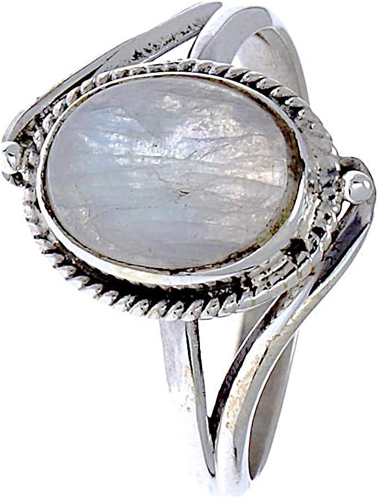 CHIC de Net Plata Piedra de luna anillos cuerda Arcos bolas ovalado 925 plata de ley anillos joyas 56 (17.8): Chic-Net: Amazon.es: Joyería