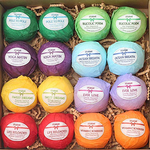 - Bath bombs Gift Set 16 Organic Bubble Bath Handmade Shea Butter Dry Skin Moisturize Spa Bubble Bath Birthday Gift idea For Her Him Natural Essential Oils Lush gift baskets Spa Fizzies Bath Pear