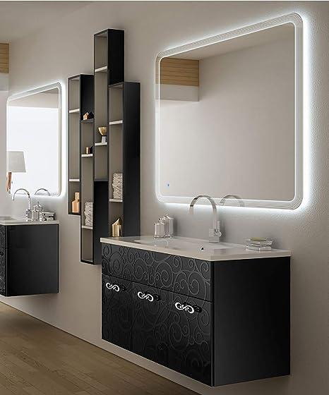 Mobile bagno sospeso moderno Floreale Miami nero, cm 100 ...