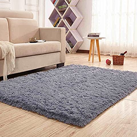 Noahas Super Soft 4.5cm Thick Modern Shag Area Rugs Fluffy Living Room Carpet Comfy Bedroom Home Decorate Floor Kids Playing Mat 4 Feet by 5.3 (Yellow Grey Blue Area Rug)