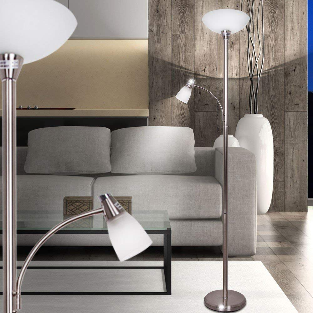 3000K Metall Glas eisen G93004//13 E27 LED 1x 7 W Brilliant Lucy Deckenfluter mit Lesearm 470lm