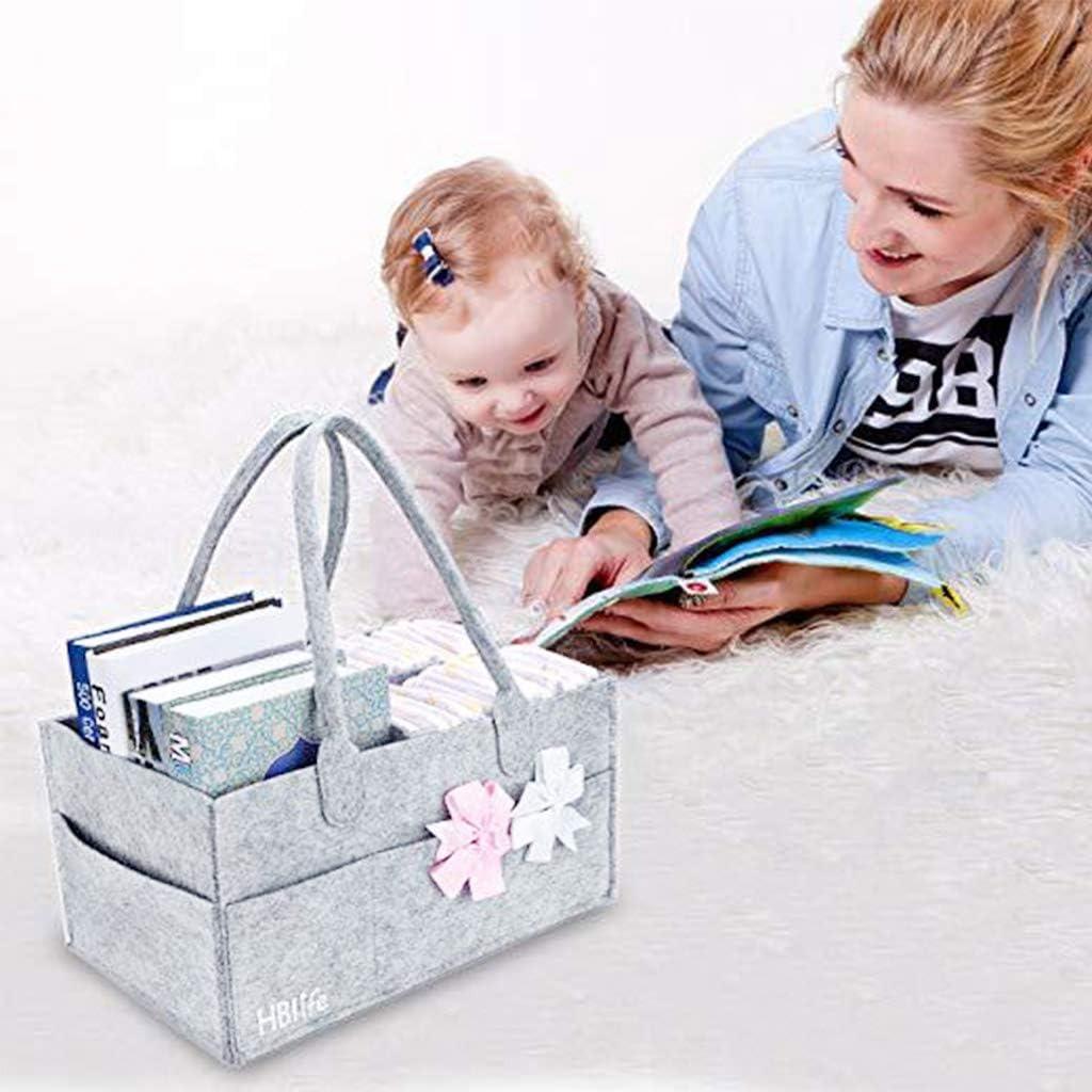 S-TROUBLE Tragbare Baby Windel Organizer Handtasche Filz Kinderzimmer Aufbewahrungskorb mit austauschbaren F/ächern Gro/ße Kapazit/ät Multi Tasche