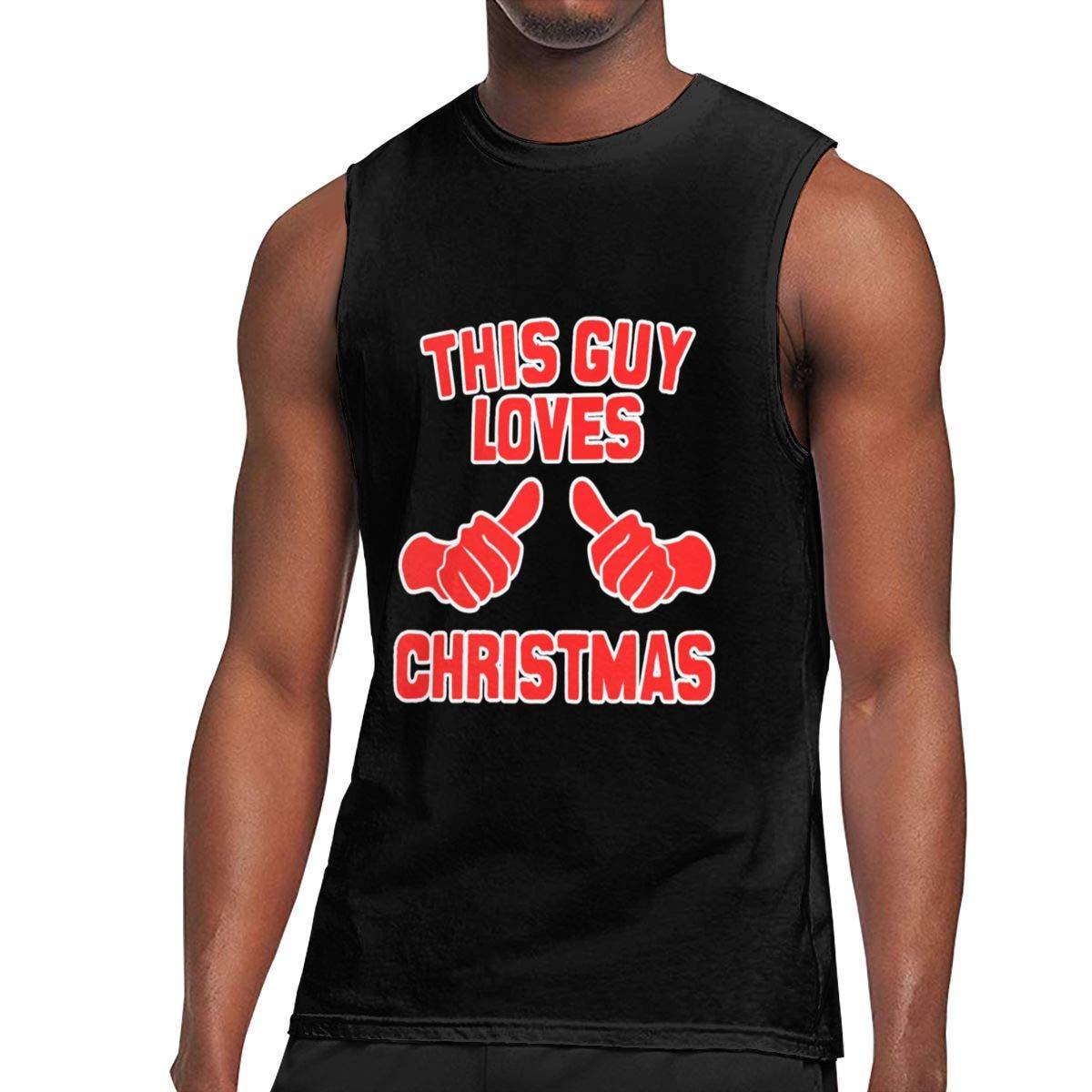 This Guy Loves Christmas Sleeveless Tanks Top Shirt Fit Men