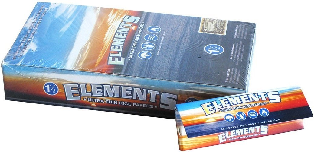 Elements 1.25 1 1/4 Size Ultra Thin Rice Rolling Paper With Magnetic Closure Full Box Of 25 HBI C256