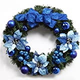Christmas Garland for Stairs fireplaces Christmas Garland Decoration Xmas Festive Wreath Garland with Christmas wreath Blue,60CM blue