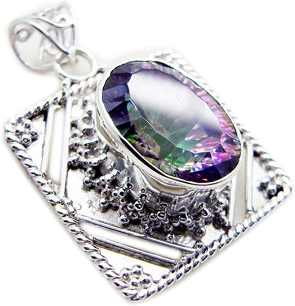 Jewelryonclick Oval Shape Bezel Setting Pendant Mystic Quartz Charms 925 Silver Vintage Style Necklaces
