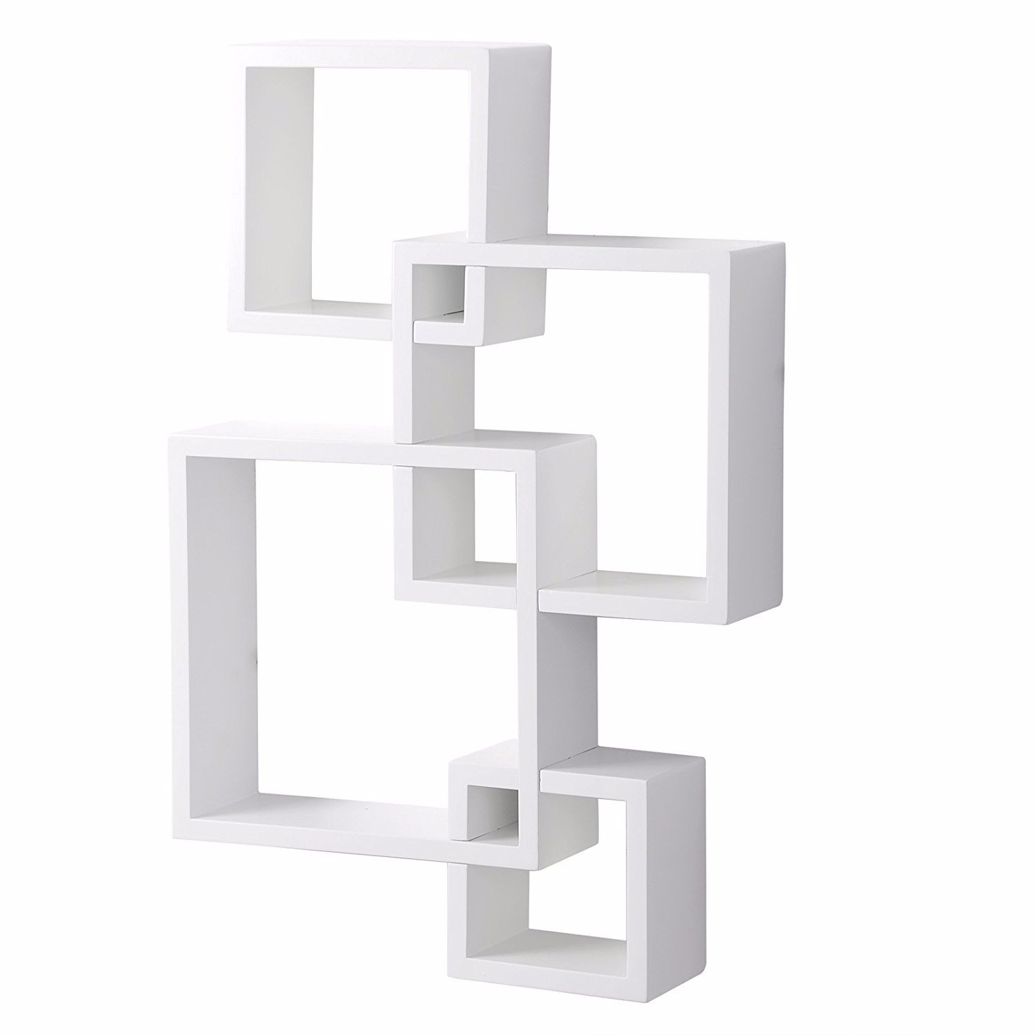 Set of 4 Intersecting Decorative Color Wall Shelf White
