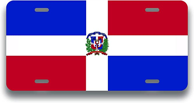 Dominican Republic Dominican Flag METAL Black License Plate Frame Tag Holder