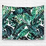 "Pdhome Palm leaf pattern Wall Tapestry, Bedroom Living Room Dorm Wall Decor(51""H x 60""W,Green Leaves)"