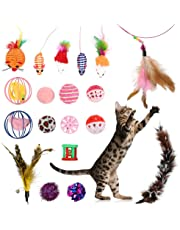 Lovestoryeu 19PCS Cat Toys for Indoor Cats Cat Catnip Toys Cat Balls Cat Feathers Wand Interactive Cat Toys Indoor Set for Kitty and Cats