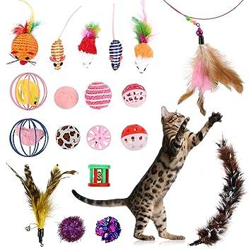 Lovestoryeu - Juego de 20 Juguetes para Gatos, Gatos, Gatos, Gatos ...